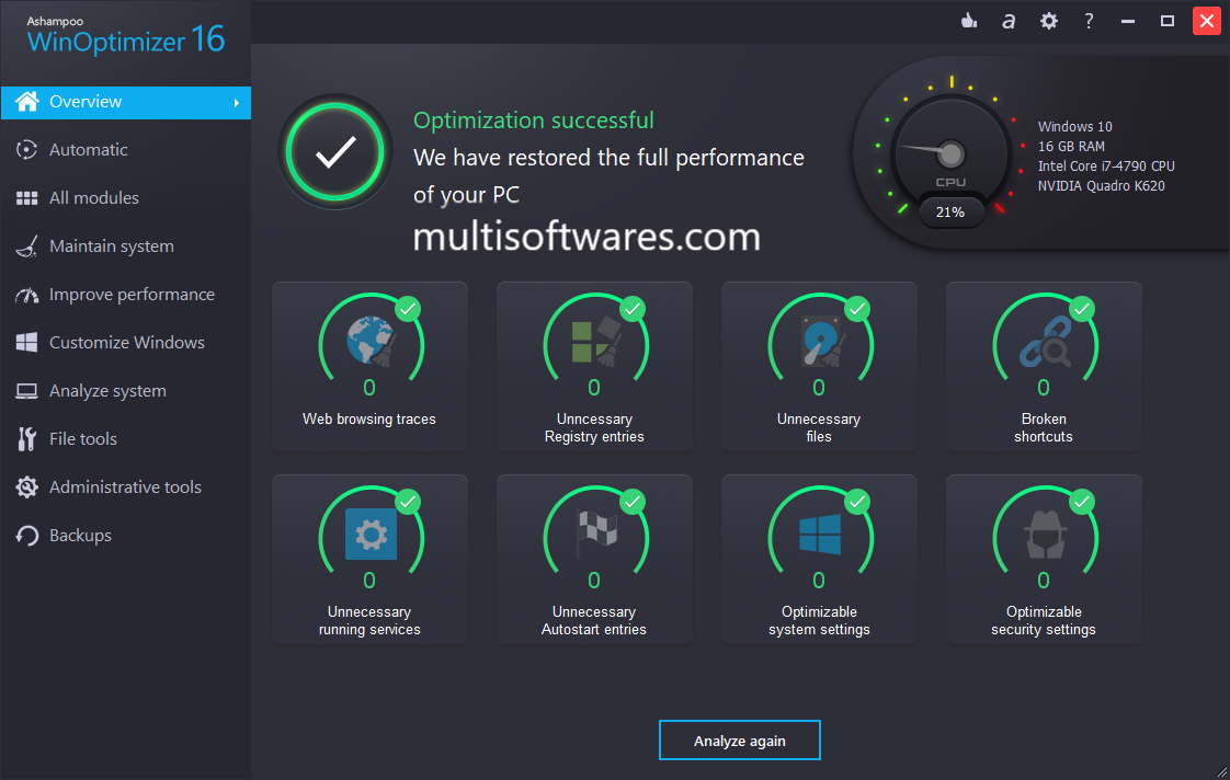 Ashampoo WinOptimizer 16.00.20 Crack + Keygen Download 2018